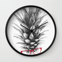 pineapple back and white Wall Clock