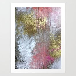 Golden Girl: a pretty abstract mixed media piece in pink, white, gold, and gray Art Print