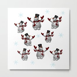 Snowmen and Snowflakes Metal Print