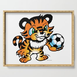 Soccer Tiger (color) square Serving Tray