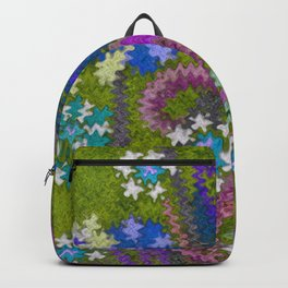 Starry Floral Felted Wool, Moss Green and Violet Backpack