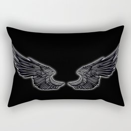 Black Angel Wings Rectangular Pillow