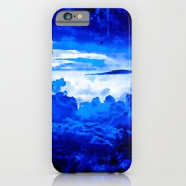 cloudy sky blue turquoise splatter watercolor iPhone Case