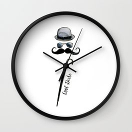 """Cool Dude"" hat, sunglasses, umbrella and mustache Wall Clock"