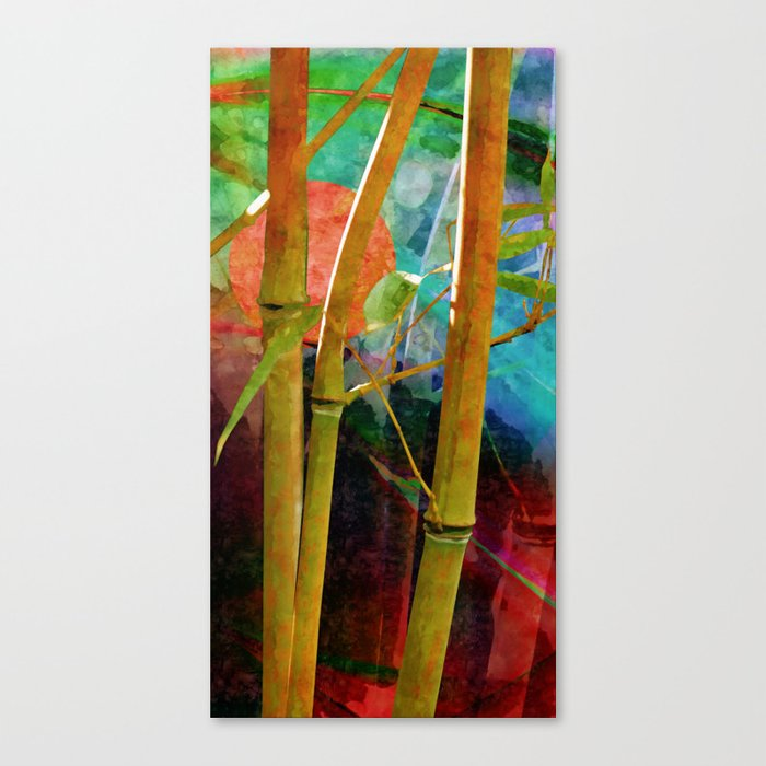 Bamboo with sunset Canvas Print