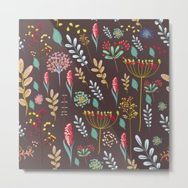 Abstract floral illustration with rustic flowers and foliage Metal Print