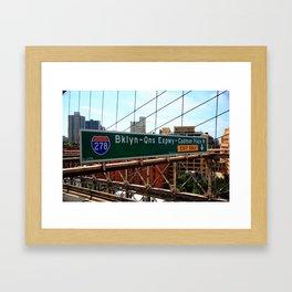 Brooklyn Bridge Road Signs 2009 Framed Art Print
