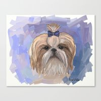 shih tzu Canvas Prints featuring Shih tzu  by Michelle Behar