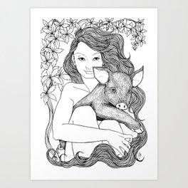PIG NYMPH Art Print