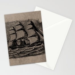 Vintage Sailing Ship - Antique Book Plate Etching - Retro Style Brown and Black Stationery Cards