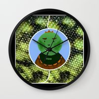 dino Wall Clocks featuring Dino by Jolly Songbird