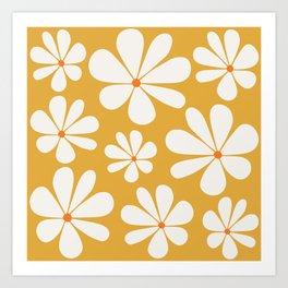 Floral Daisy Pattern - Golden Yellow Art Print