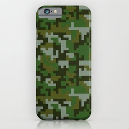 Green Pixel Army Camo pattern iPhone Case