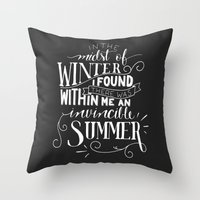 camus Throw Pillows featuring Albert Camus - In the Midst of Winter by Amber Serene