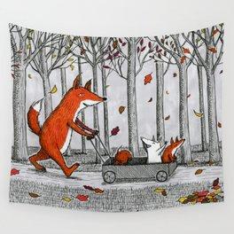 Fox Family Enjoying the Fall Leaves Wall Tapestry