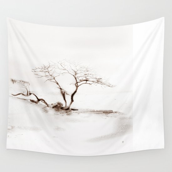 Scots Pine Sepia Wall Tapestry