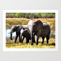 elephants Art Prints featuring Elephants by Regan's World