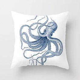 Blue nautical vintage octopus illustration Throw Pillow