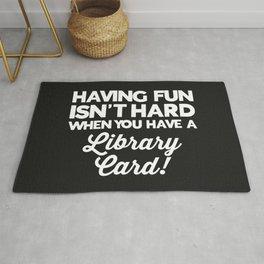 Having Fun Library Card Funny Saying Rug