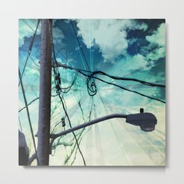 Curl in the Wire Metal Print