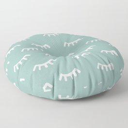 Mint Sleeping Eyes Of Wisdom - Pattern - Mix & Match With Simplicity Of Life Floor Pillow