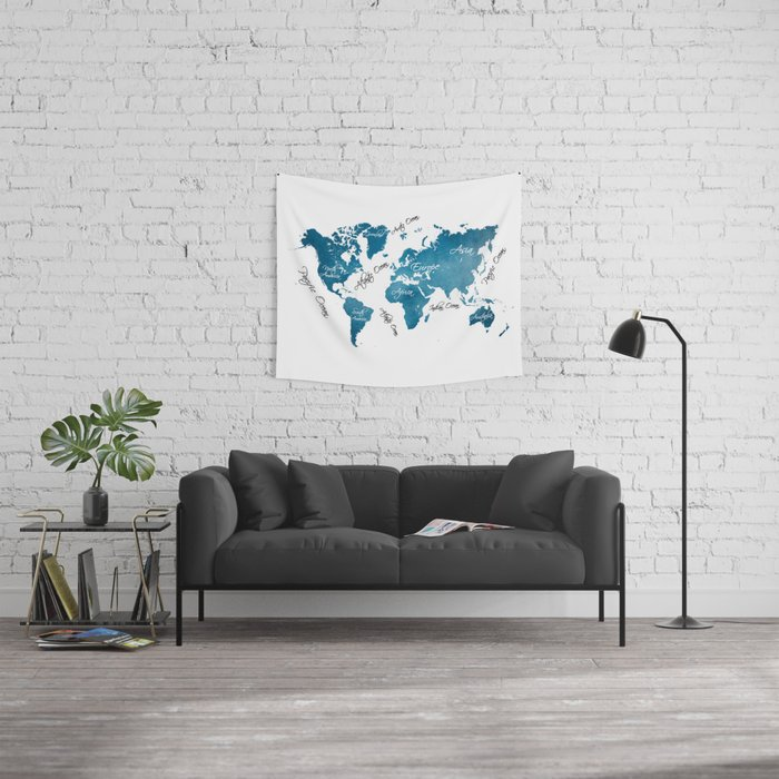 World Map blue Wall Tapestry