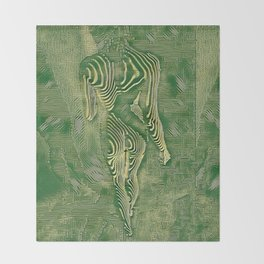 5360s-MAK Naked Motherboard Fine Art Nude Wired Woman Throw Blanket