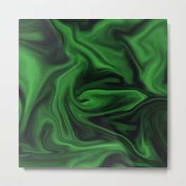 Black and green marble pattern Metal Print