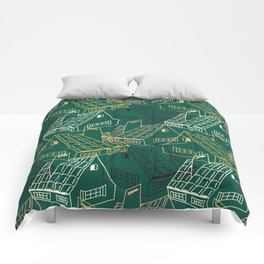 Comfortable old fashioned houses Comforters