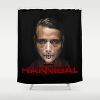 hannibal Shower Curtains featuring Hannibal Masked by 666HUGHES