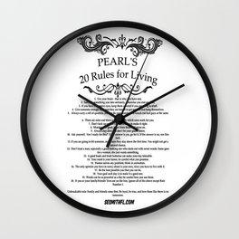 Grandma Pearl's 20 Rules for Living Wall Clock