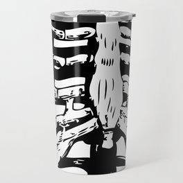 Skeleton Ribs   Black and White Travel Mug