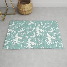 Traditional Hand Drawn Japanese Wave Ink Rug