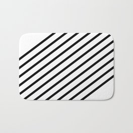 Stripes Diagonal Black White Minimal Design Bath Mat