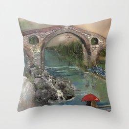 The Roman Bridge, Asturias  Throw Pillow