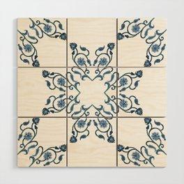 Blue Floral Heart Tile Wood Wall Art