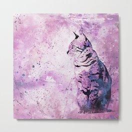 Pink Watercolor Cat Painting Metal Print