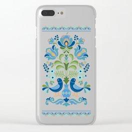 Hungarian Folk Design Blue Birds Clear iPhone Case