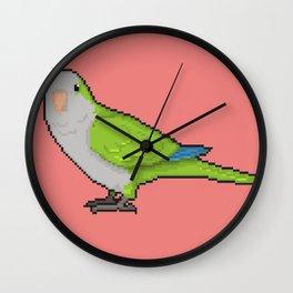 Pixel / 8-bit Parrot: Green Quaker Parrot Wall Clock
