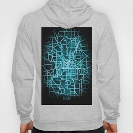 Akron, OH, USA, Blue, White, Neon, Glow, City, Map Hoody