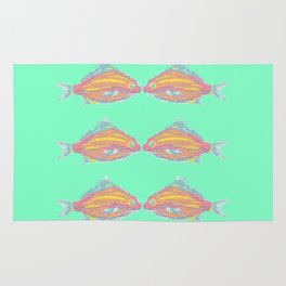 Tropical Fish Seafoam GreenTurquoise Rug