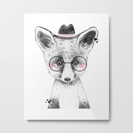 Fox - black and white with hat and glasses Metal Print