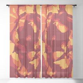 Warm-Toned Peony Sheer Curtain