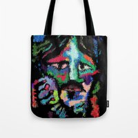 dave grohl Tote Bags featuring Self portrait as Dave Grohl by brett66