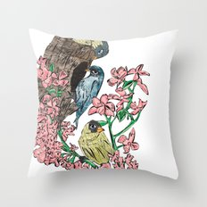Birds with blossom Throw Pillow