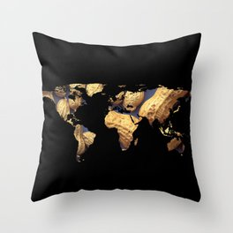 World Map Silhouette - Peanuts Throw Pillow