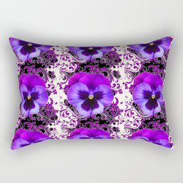 GARDEN ROWS OF PURPLE PANSY FLOWERS PATTERNS Rectangular Pillow