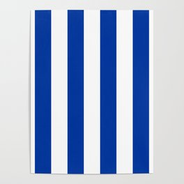 Dark Princess Blue and White Wide Vertical Cabana Tent Stripe Poster