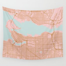 Pink and gold Vancouver map, Canada Wall Tapestry