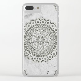 Mandala on Gray marble Clear iPhone Case